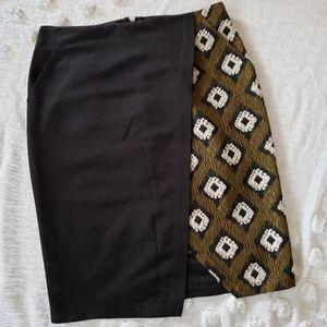 Topshop Black and Brown Pencil Skirt sz 8